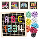 Coogam Wooden Mosaic Puzzle, 370PCS Shape Pattern Blocks with 8 Colors, Pixel Board Game STEM Montessori Toys Gift for Toddlers Kids Boys Girls Ages 3 4 5 6 Years Old