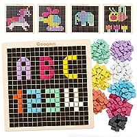 Coogam Holz Mosaik Puzzle, 370PCS Form Musterblöcke mit 8 Farben, Pixel Brettspiel STEM Montessori Spielzeug Geschenk für Kleinkinder Kinder Jungen Mädchen Alter 4 5 6 7 Jahre alt