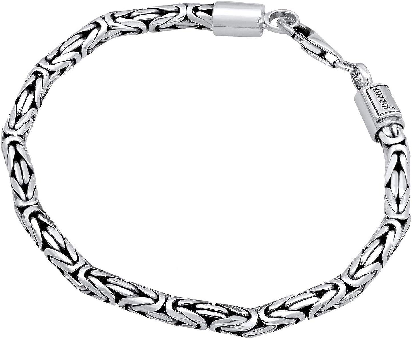 Kuzzoi 345051 Cha/îne byzantine en argent sterling 925 pour homme /Épaisseur 5 mm Longueur 50 cm//60 cm Avec bo/îte /à bijoux