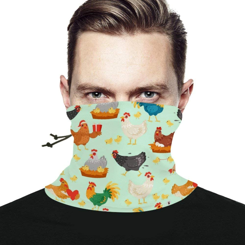 Chickens Unisex Winter Neck Gaiter Warmer Scarf Windproof Multifunctional Face Mask Bandana Reusable for Cold Weather Skiing Running Outdoor Sports