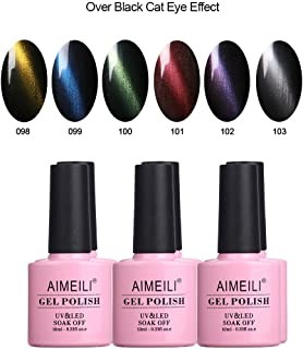 AIMEILI Soak Off UV LED Cat Eye Range Gel Nail Polish Multicolour/Mix Colour/Combo Colour Set Of 6pcs X 10ml - Kit 27