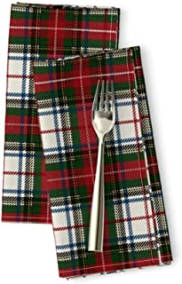Plaid Linen Cotton Dinner Napkins Tartan Stewart Royal Queen Anne S Lace Preppy Christmas by Peacoquettedesigns Set of 2 Dinner Napkins