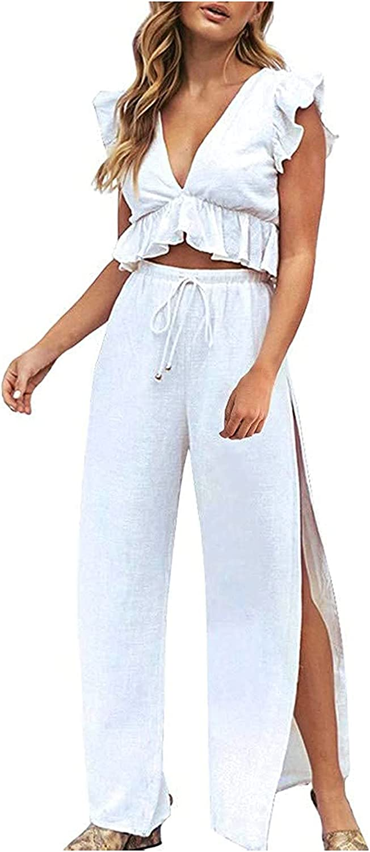 A2A 2 Pieces Outfits for Women Deep V Neck Crop Top Side Slit Drawstring Wide Leg Pants Set Solid Color Jumpsuits