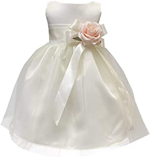 Pink Princess Flower Girl Dress Ivory Toddler Big Little Dresses for Weddings