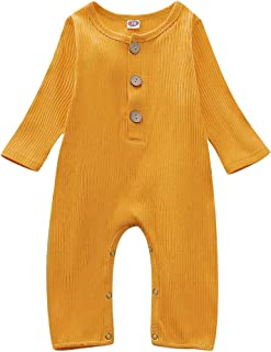 Happy Town One Piece Outfits Baby Solid Color Rompers...