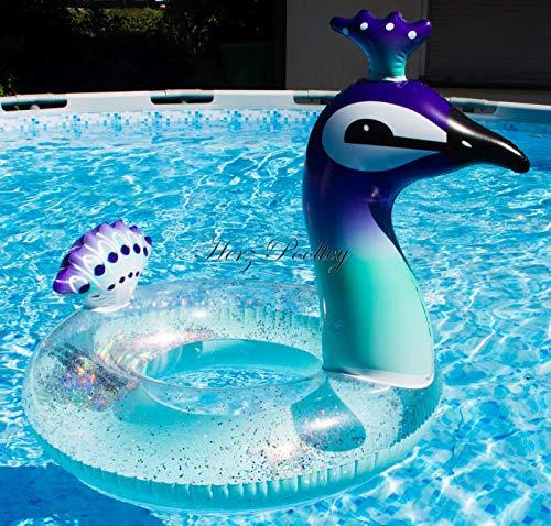 HPT Großer aufblasbarer Schwimmring / Schwimmreifen Glitzer Pfau Style Pool Toy ~90cm