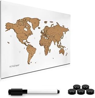 Navaris Tablero de Notas de para rascar - Pizarra magnética con Mapa del Mundo 60x40CM - En diseño de mapamundi - con imanes Marcador y Soporte