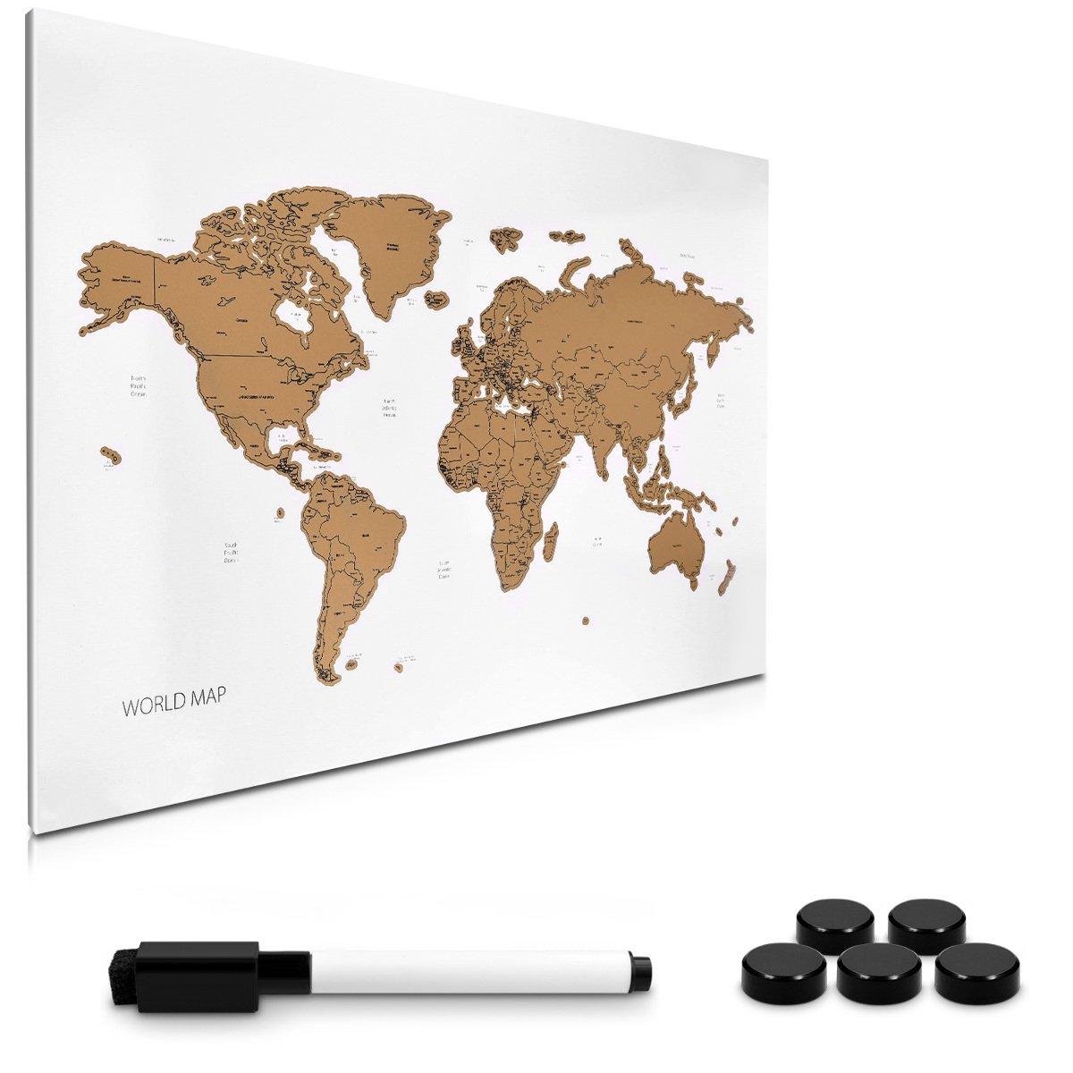 Navaris Tablero de Notas de para rascar - Pizarra magnética con Mapa del Mundo 60x40CM - En diseño de mapamundi - con imanes Marcador y Soporte: Amazon.es: Hogar
