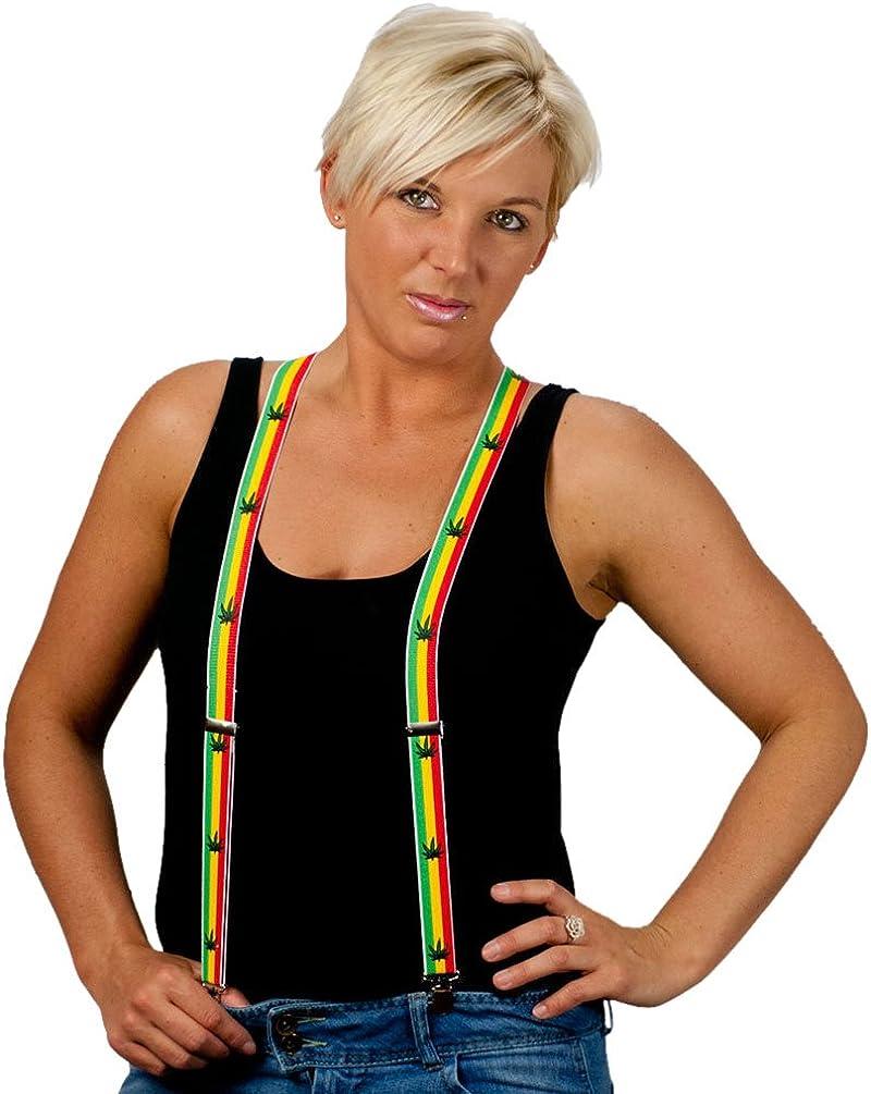 Mens & Women's One Size Suspenders - Rasta Colors