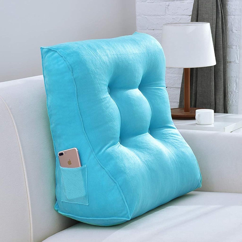 Coussin triangle coussin coussin de velours canapé lit chaise siège coussin de repos (Couleur   Bleu, taille   L)