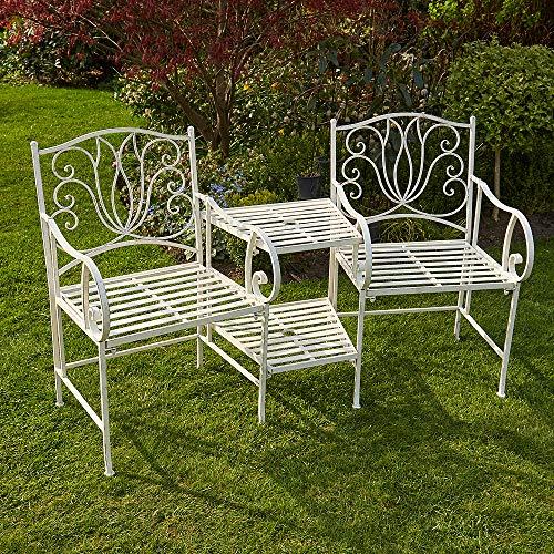 BFW Tulip Cream Garden Bench Duo Love Seat Companion Chair Metal
