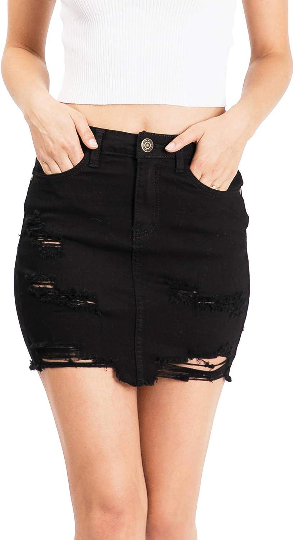 Machine Jeans Pour Neuf Mode Women's Juniors Distressed Denim Mini Skirt