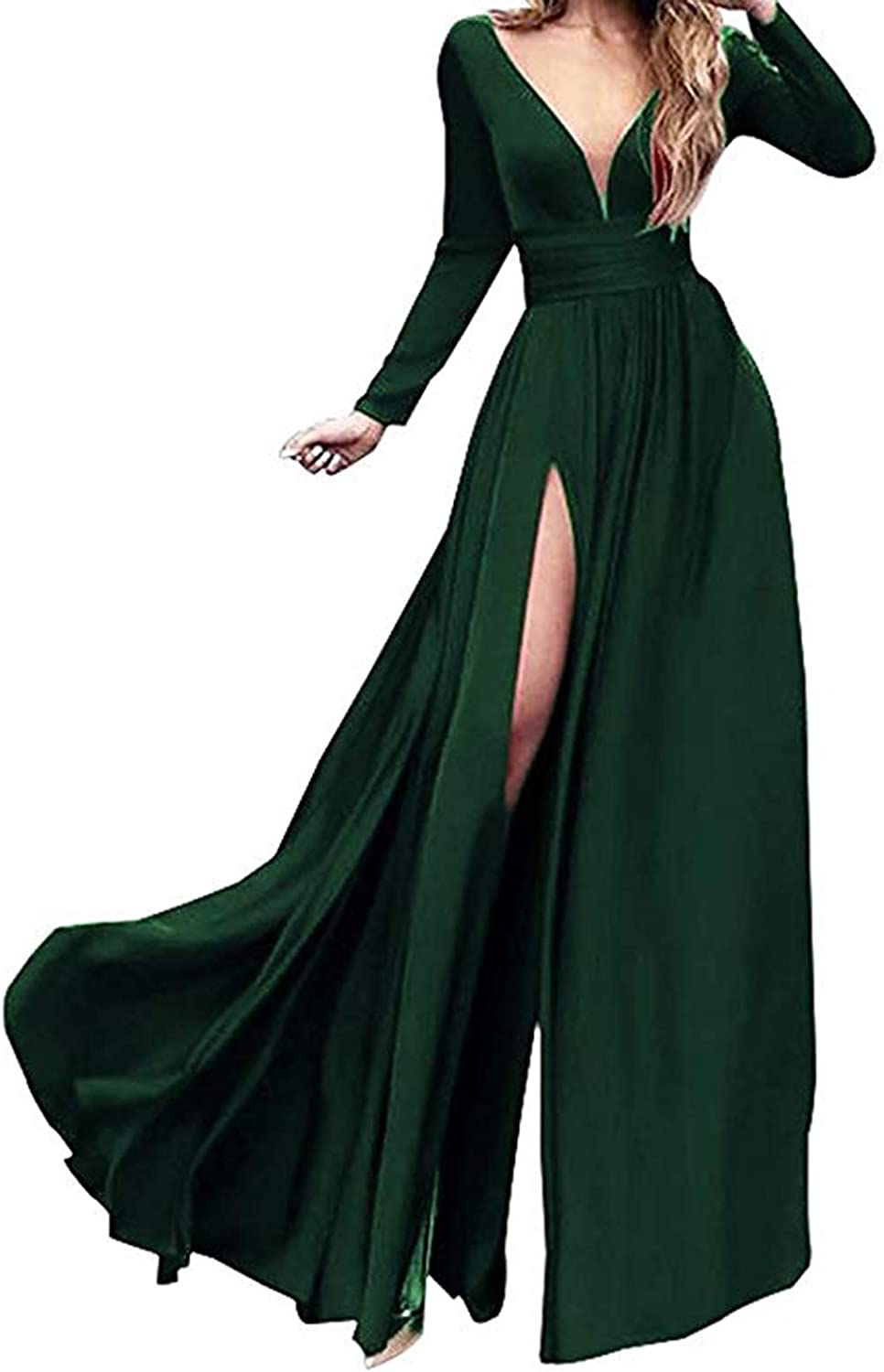 Ri Yun Women's Double VNeck Long Sleeve Prom Dresses Long 2019 Side Slit Formal Evening Ball Gowns