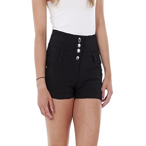 6ffeb9db3f1 Ladies Girls High Waisted Hotpants Jean Style Shorts Black / White Size  uk6-uk14