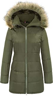 Women's Down Coat Winter Outerwear with Fur Trim Removable Hood