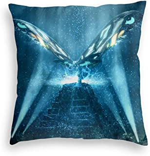 Super Warm Velvet Throw Pillow Covers Bedbug Proof, Mothra Monster Godzilla 2019, Stylish Zippered Cushion Covers for Home Playroom Car 24x24 Inch