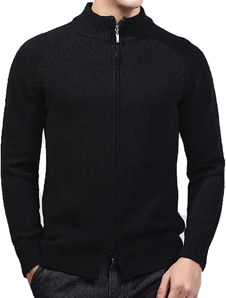 ZOOB MILEY Men's Stand Collar Knitted Cardigan Sweaters Zip Up