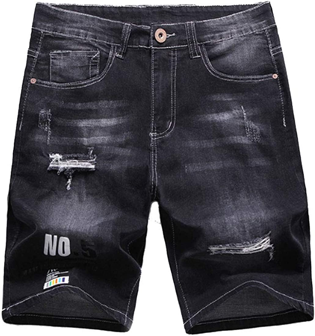 ONLYWOOD Mens Stretch Hole Distressed Denim Shorts Straight Fit Jeans Half Pants