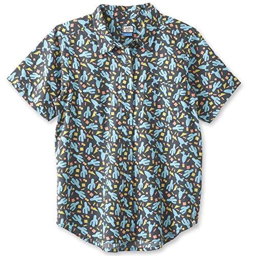 KAVU Girl Party Button Up Shirt - Boyfriend Fit Print -Electric Cactus-M