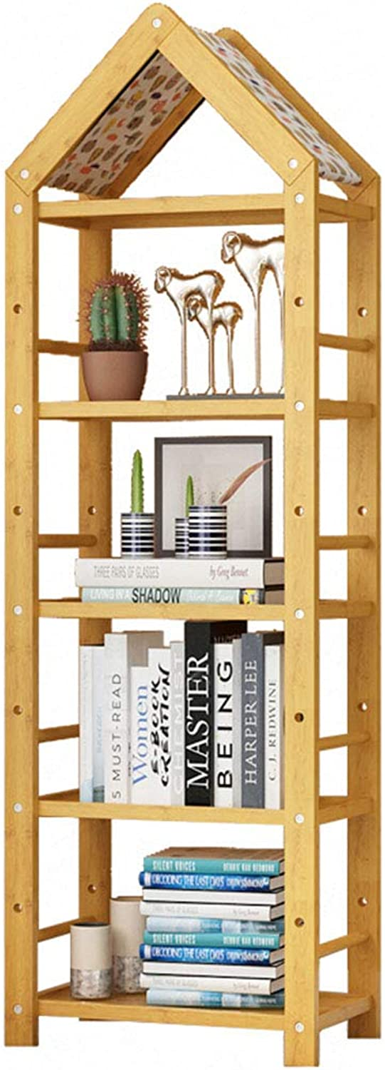 QIANGDA Bookshelf Bookcase Office Storage Shelf Bamboo Floor Standing Organizer Display Shelving, 3 Sizes (color   A, Size   4 Tiers)
