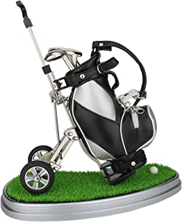 10L0L Golf Pens with Golf Bag Holder,Novelty Gifts with 3 Pieces Aluminum Pen Office Desk Golf Bag Pencil Holder for Men F...
