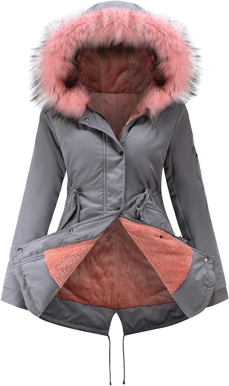 Shiyifa Women's Winter Warm Fleece Thicken Coat Zip Up Faux Fur Hooded Parka Outwear Jackets with Pockets