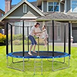 MaxKare 12ft Trampoline for Kids Fitness Recreational Trampoline with Safety Enclosure & Net Jumping Mat & Ladder Heavy Duty Steel Stand for Children & Adults for Indoor & Outdoor