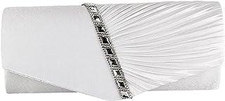 Damen-Handtasche, plissiert, Satin-Diamanten-Design, für Hochzeit, Abschlussball, Clutch, Abendparty, Geldbörse, Kette