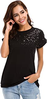 LUSMAY Womens Short Sleeve Loose Fitting Sparkle Sequins Tops Cotton T Shirts