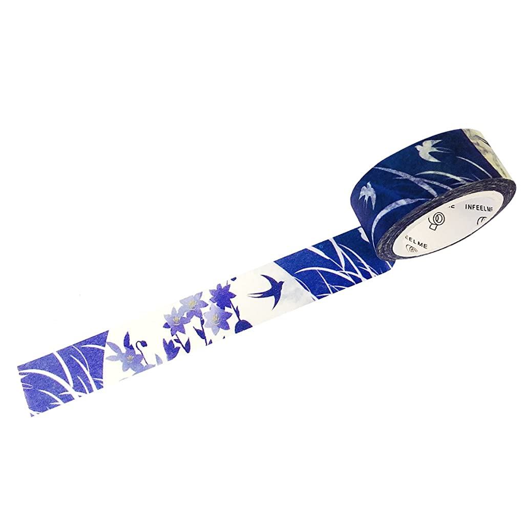 Wrapables Unique Designs Washi Masking Tape, 15mm x 7m Swallows in Moonlight