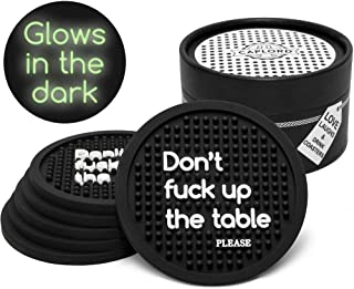 Coasters for Drinks, Glow in the Dark, Washable, Noise Absorbent Drink Coaster (6-Piece Set), Reusable, Moisture Retaining, Funny Saying, Housewarming Hostess Gifts for New Home (Don't f up the table)