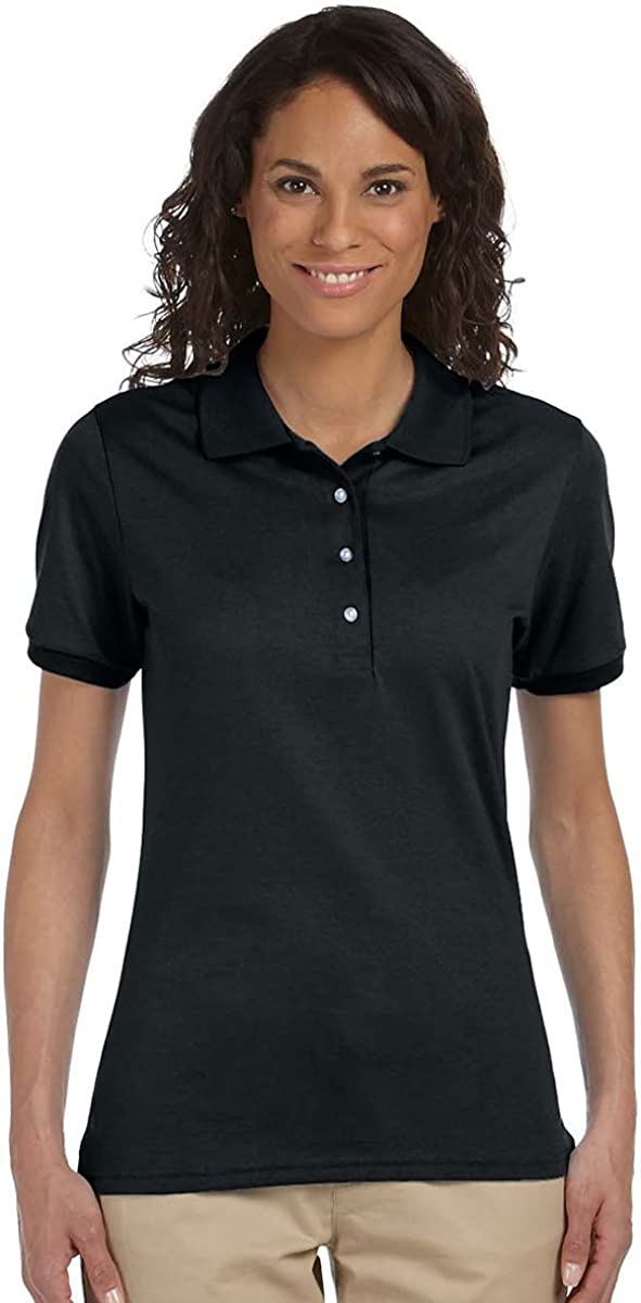 Jerzees Women's Stain Resistant Half-Sleeve Polo Shirt, Black, M (Pack of 5)