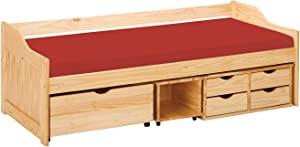 Inter Link Bett Funktionsbett Kinderbett Einzelbett Stauraumbett modernes Bett Kiefer massiv Natur lackiert