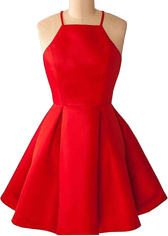New Sposa 2018 Simple Halter Sleeveless Pleated Aline Short Homecoming Formal Dress