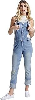 Ladies Lightweight Stonewash Dungarees – Slim Fit Distressed Denim Buttonfront