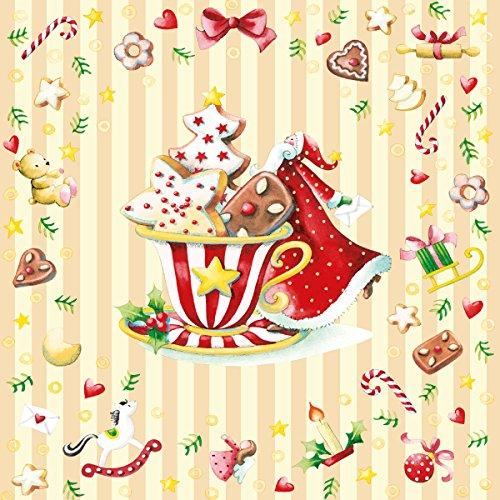 Serviette Weihnachten Lebkuchen Tasse Weihnachtsmann Geschenke mit Setita® Menükarte