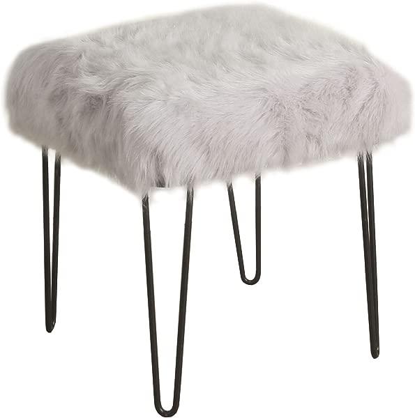 HomePop 人造毛皮装饰方形搁脚凳与金属发夹腿灰色