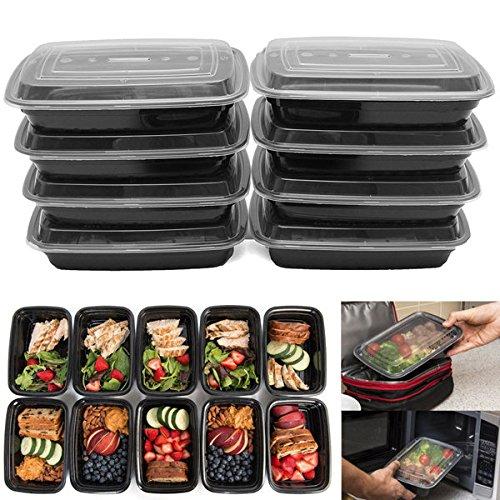 FEIYI Essgeschirr & Besteck, 10 Stück, 680 ml, Lebensmittelbehälter mit Deckel, wiederverwendbar, mikrowellengeeignet, Kunststoff, BPA-frei