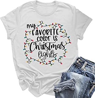 Pfvkeree Womens Christmas T Shirts Short Sleeve Round Neck Graphic Letter Print Cute Tee Tops Blouses