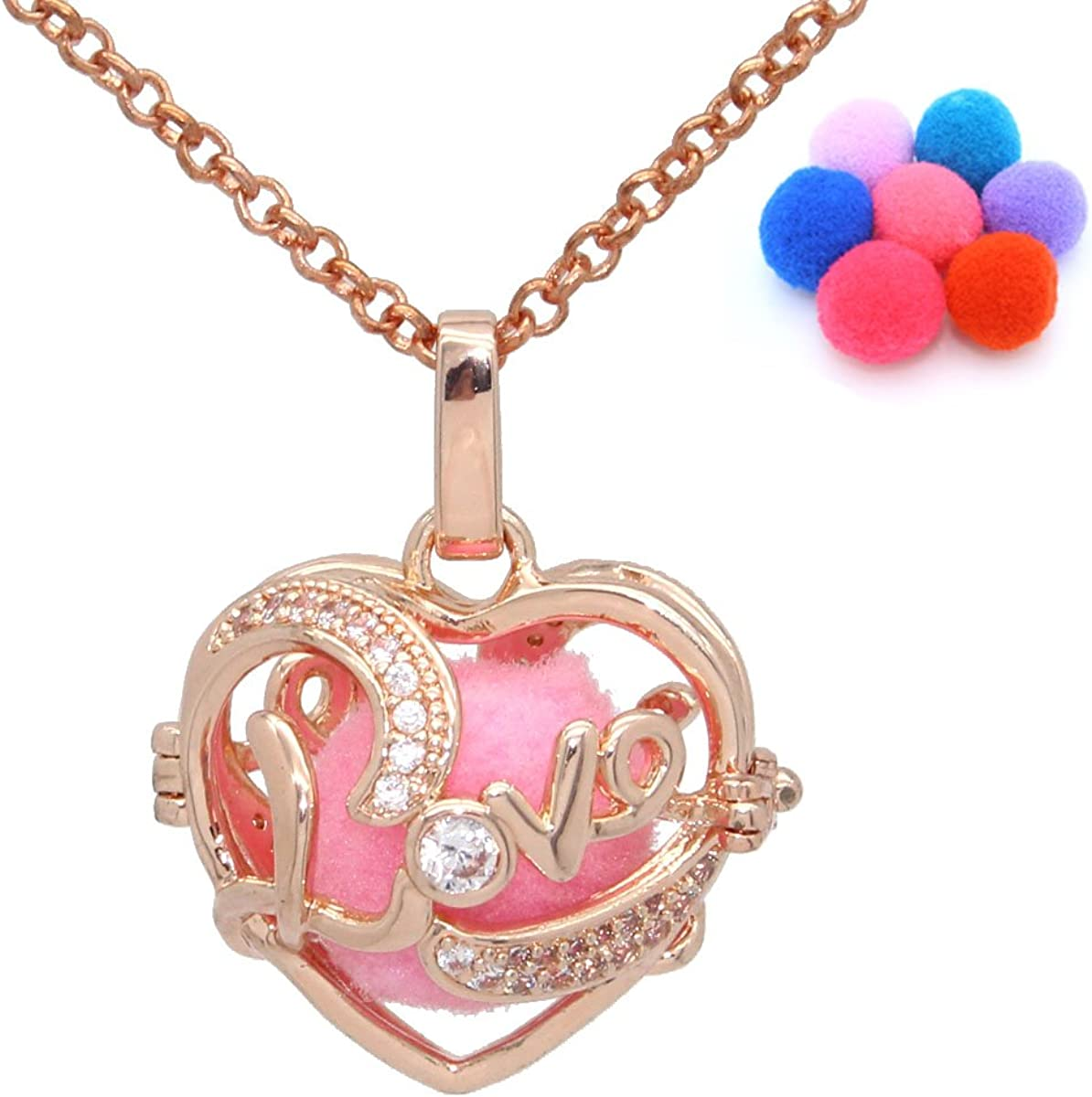 Aromatherapy Love Heart Shaped Pendant Essential Oil Diffuser Locket Necklace + 30