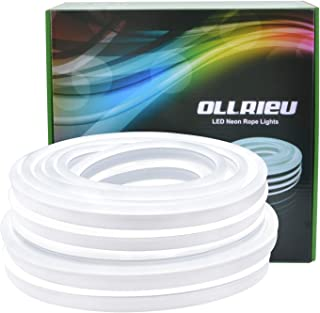 ollrieu LED Light Strip, 6000K Flexible White Neon Light 50Ft/15m IP68 Waterproof, UL-Listed Upgrade Silicone LED Rope 110V DC Tape Light for Indoors/Outdoors Decor