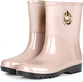 Wellington Boots for Women Ladies Mid Calf Rain Boots Boots Garden Shoes Rubber Boots Outdoor Mud Slip Resistant Shoes 36-...