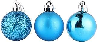 Noyokere 24 unids Belleza Árbol de Navidad Adornos Bola de la Bola de Plata Onaments Shatterproof Navidad Decoraciones Colgantes Lago Azul
