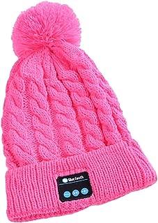 GLJJQMY Stylish Stereo Music Knit Hat Multifunction Bluetooth Earphone (Color : Pink)
