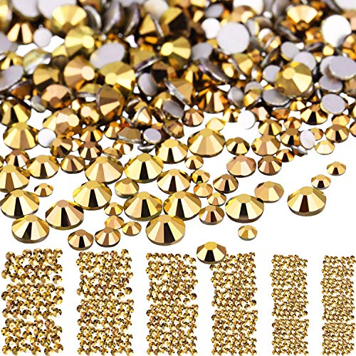 3456 Stücke Nagel Kristalle AB Nagel Kunst Strasssteine Runde Perlen Flatback Glas Charms Edelsteine, 6 Größen für Nägel Dekoration Makeup Kleidung Schuhe (Bronze, Gemischt SS4 5 6 8 10 12)