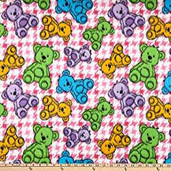 Image: Polar Fleece Houndstooth Bear Pink Fabric by the Yard | Brand: Newcastle Fabrics