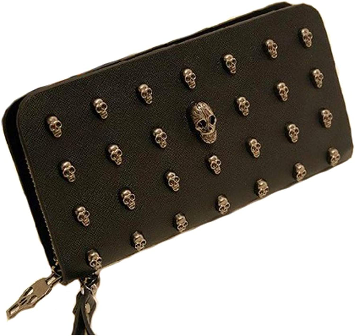 Skull Zipper Long Design Women's Genuine Leather Wallet (bluee)