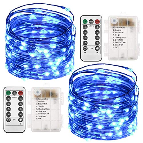 Twinkle Star 2 Set Christmas Fairy Lights Battery Operated, 33ft 100 Led String Lights Remote Control Timer Twinkle String Lights 8 Modes Firefly Lights for Garden Party Indoor Decor, Blue