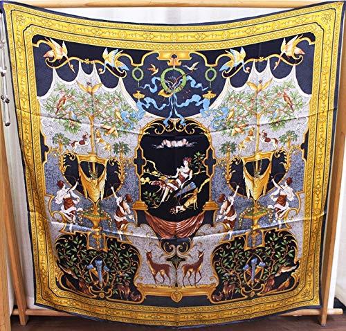 K-ONE Bufanda Cuadrada 110Cm Bufanda Grande Mujer Mantón de Seda de Morera Estola Poncho Vintage Bordes cosidos a Mano Bufandas
