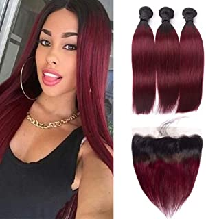 HC Hair Peruvian Ombre Lace Frontal Closure with 3 Bundles Straight 1B/99j Burgundy Virgin Frontal Closure Pre Plucked with Baby Hair Ombre Human Hair Weave (12 14 16+10inch Frontal)